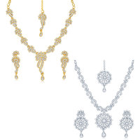 Sukkhi GoldenSilver Gold Plated Set Of 2 Pieces Necklace Set For Women