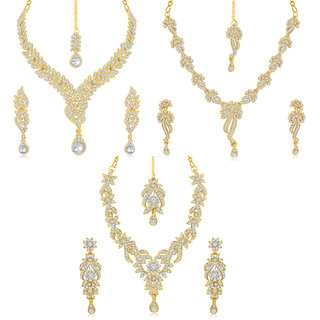 Sukkhi Gold Plated Traditional/Ethnic Combo Of 3 Pieces Necklace Set For Women