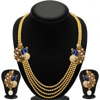 Sukkhi Golden Alloy Gold Plated Necklace Set For Women