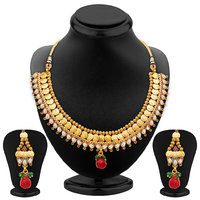 Sukkhi Marvellous Gold Plated Temple Jewellery Necklace Set