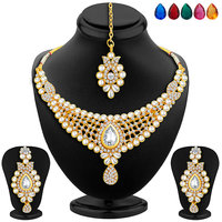 Sukkhi Elegant Gold Plated AD Necklace Set with Set of 5 Changeable Stone