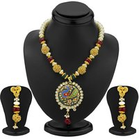 Sukkhi Designer Gold Plated Peacock Antique Necklace Set