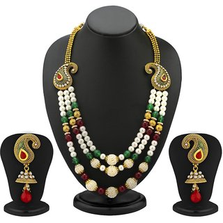 Sukkhi 3 Strings Keri Design Gold Plated Antique Moti Necklace Set