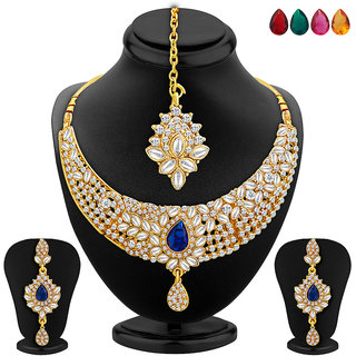 Sukkhi BlueGolden Alloy Gold Plated Necklace Set For Women