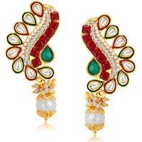 Sukkhi Fancy Peacock Gold Plated Australian Diamond Earrings