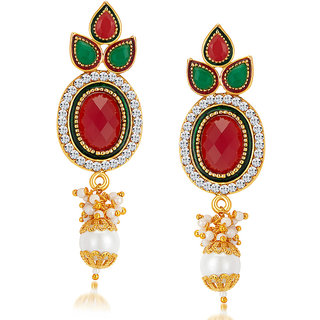 Sukkhi Excellent Gold Plated Australian Diamond Earrings
