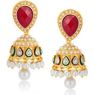 Sukkhi Glimmery Gold Plated Australian Diamond Earrings