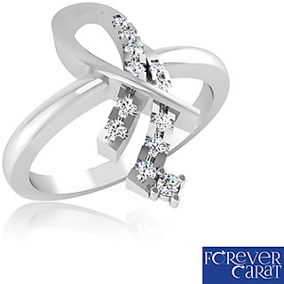 Forever Carat Real Diamond Ring In 100% Certified 925 Sterling Silver