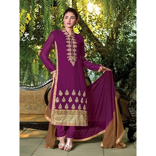 Sareemall Magenta Embroidered Semi-Stitched Suit with Matching Dupatta 9LVS9018