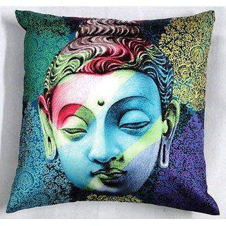 valtellina India Saint Budha Design 3D Cushion Covers (DGC_18X18_002)