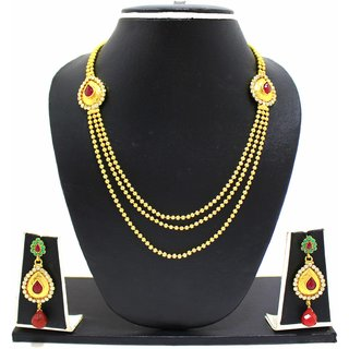 Zaveri Pearls Gold Plated Multicolor Necklace Set For Women