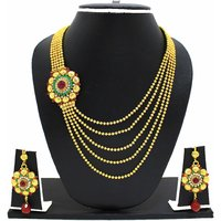 Zaveri Pearls Muticolor Alloy Gold Plated Necklace Set For Women