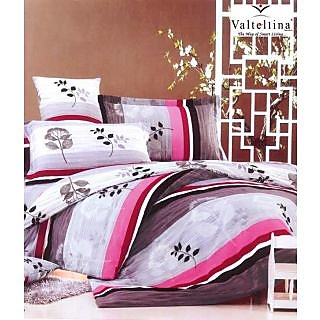 Valtellina Abstract Leaf Print 2 Single Bedsheets with 2 Pillow Cover (AMZ2S-10)