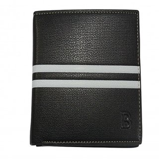 Men Casual  Formal Black Artificial Leather Wallet With Note Compartment