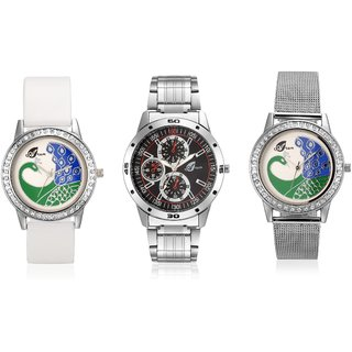 Arum Black  White Peacock  Couple Watch AW-040