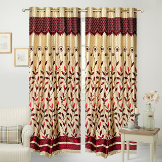 Fresh From Loom Designer Panel Maroon Eyelet Door Curtain (Set of 2)