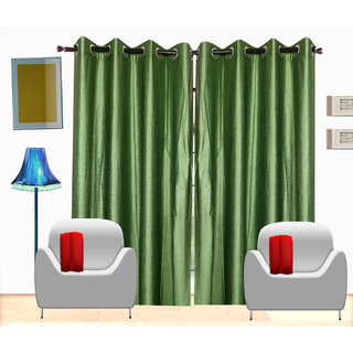 Fresh From Loom Plain Polyster Door Curtain -Set of 3 (428-Green-7feet-3pc)