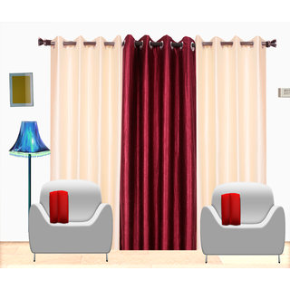 Fresh From Loom Plain Polyster Door Curtain -Set of 3 (448-2Cream+1mahroon-7feet-3pc)