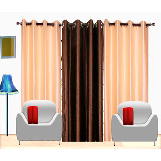 Fresh From Loom Plain Polyster Door Curtain -Set of 3 (471-2Cream+1Coffe-7feet-3pc)