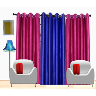 Fresh From Loom Plain Polyster Door Curtain -Set of 3 (522-2Darkpink+1Blue-7feet-3pc)
