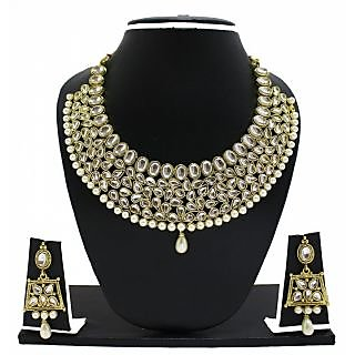 Zaveri Pearls Non Plated Gold White Alloy Necklace Set For Women