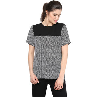 Black  White Women Contrast Yoke Back Zipper Top available at ShopClues for Rs.395