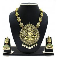 Zaveri Pearls GoldenRed Alloy Gold Plated Necklace Set For Women