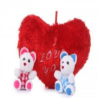 Soft Red Heart Cushion with Two Cute Teddy - Combo