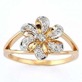 Certified 0.28 Cts. Real Natural Diamond Ring In 14 Kt Yellow Gold