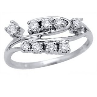 Certified 0.36 Cts. Real Natural Diamond Ring In 9 Kt White Gold