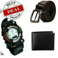 Super Deal Combo Men's Sports Watch,  Belt ,Wallet