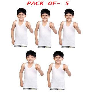 Kids Multicolour Cotton Sleveless Vest Pack Of 5