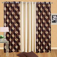 iLiv Floral Polyster Combo of 3 Door Semi Transparent Curtains For Bed Room - 2 Brown Box  1 Cream Plain solid - 7ft
