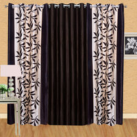 Pack Of 3 Designer Door Curtain - Brown Kolaweri + Brown