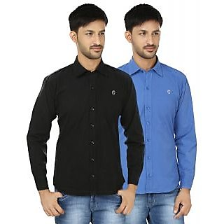 HI MAN Black  Blue Solid Full Sleeves Casual Shirt