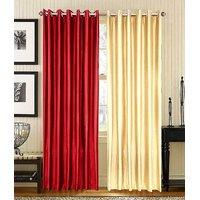 ILiv Pack Of 2 Plain Eyelet Door Curtain - Maroon & Cream