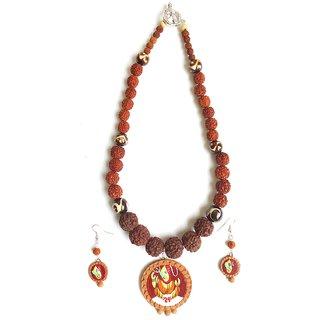 Rudraksha temple Jewellery - Hand Painted Terracotta Ganpati Ganesha Pendant