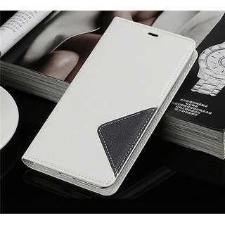 Samsung Galaxy Note 5 PU Leather Flip Cover with Case Stand -- Sparkling White