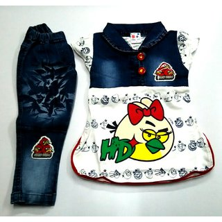 FB-904142 : GIRLS COTTON TOP WITH DENIM FULL PENT ( 0.5 - 5 years )