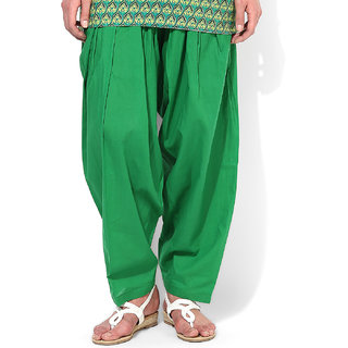 Green Cotton Semi Patiala Salwar
