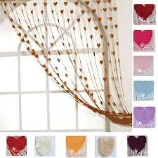 AmarOverseas Heart Design Door Curtains(Set of 2)
