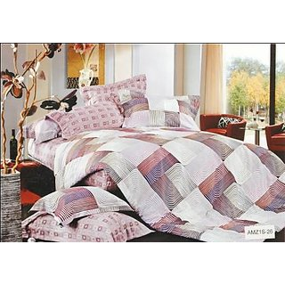 Valtellina Shapely Check Print 2 Single Bedsheets with 2 Pillow Cover (AMZ2S-26)