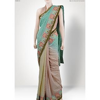 Shiny Green Shade Saree with Heavy Border