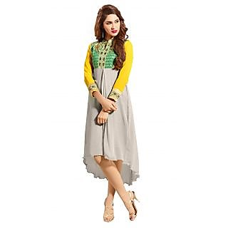 7 Colorslifestyle Grey  Yellow Coloured Georgette Embroidered Kurti