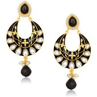 Kriaa Gold Plated Black Kundan Meenakari Earrings - 1305401