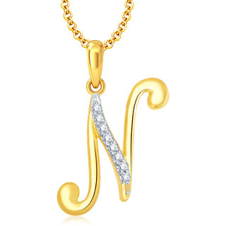 Sukkhi Letter N Gold and Rhodium Plated CZ Alphabet Pendant