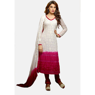 Balaji  White  Red Color Beautiful salwar suit
