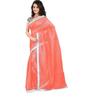 7 Colors Lifestyle Peach Coloured Super Net Embroidered Saree