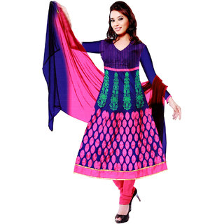 Fashionic Royal Blue & Pink Cotton EmbroideredParty Wear Dress Materials