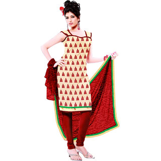 Fashionic Cream & Red Cotton Embroidered Party Wear Dress Materials
